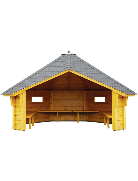 WOLFF FINNHAUS Wetterschutzhütte, B x T: 393 x 325 cm, achteckig