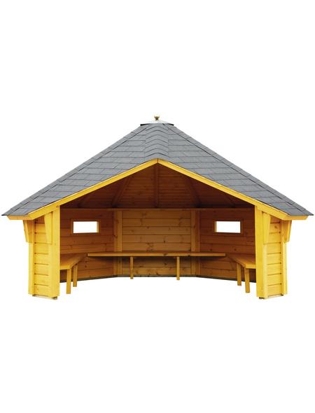 WOLFF FINNHAUS Wetterschutzhütte, BxT: 393 x 325 cm (Aufstellmaße), achteckig