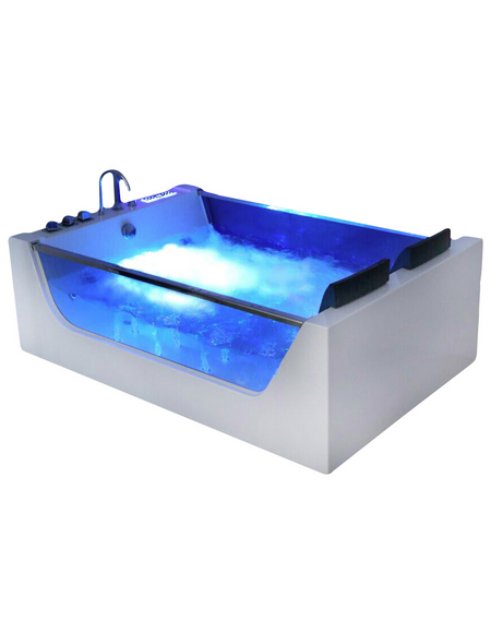 HOME DELUXE Whirlpoolwanne »Atlantic XL«, BxHxL: 180 x 40 x 120 cm, weiß, Farblichttherapie