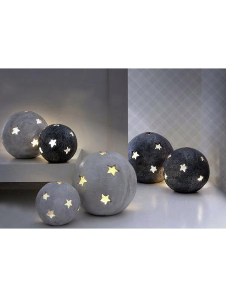 Windlicht Windlicht Sternkugel, D 18xH 17 cm, anthrazit mit Glitter, Magnesia