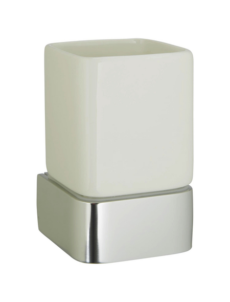 HACEKA Zahnputzbecher »Aline«, Keramik/Metall, poliert, weiß, eckig