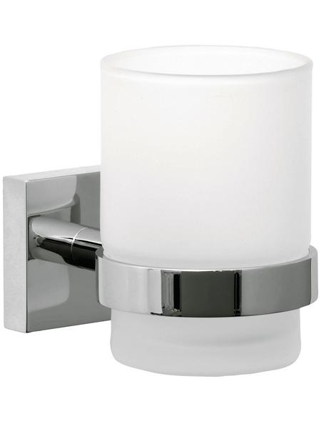TESA Zahnputzbecher »Ekkro«, Metall/Glas, Metallfarben/weiß