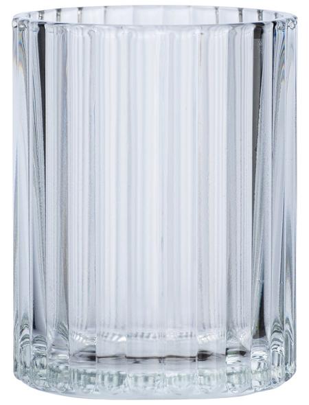 WENKO Zahnputzbecher, Glas, transparent, rund