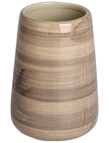 WENKO Zahnputzbecher, Keramik, beige, rund