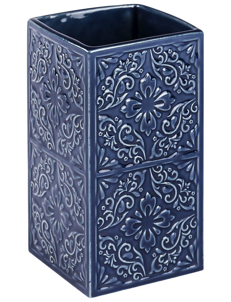 WENKO Zahnputzbecher, Keramik, blau, rund