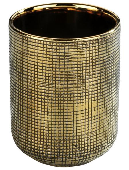 WENKO Zahnputzbecher, Keramik, goldfarben, rund