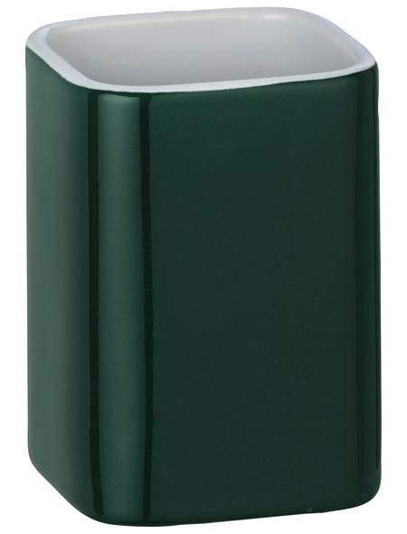 WENKO Zahnputzbecher, Keramik, grün, rund
