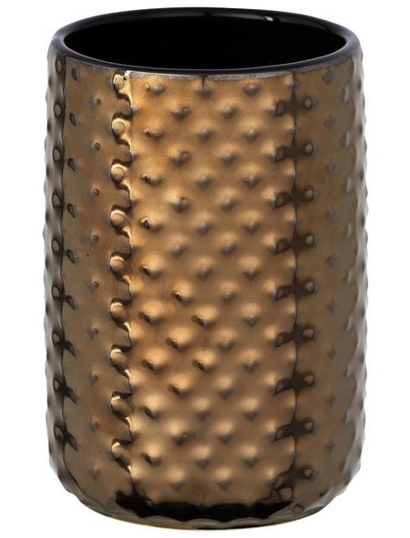 WENKO Zahnputzbecher, Keramik, kupferfarben, rund