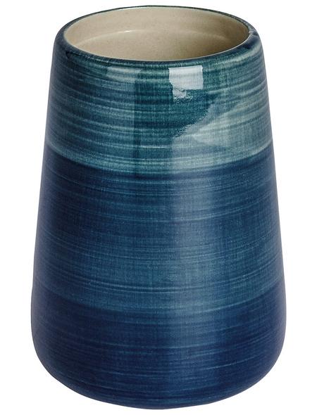 WENKO Zahnputzbecher, Keramik, petrolfarben, rund