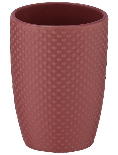 WENKO Zahnputzbecher, Keramik, rosa, rund