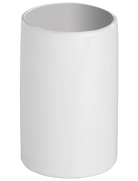 WENKO Zahnputzbecher, Keramik, weiß, rund