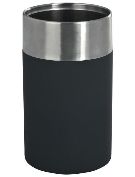 WENKO Zahnputzbecher, Kunststoff/Edelstahl, schwarz, rund