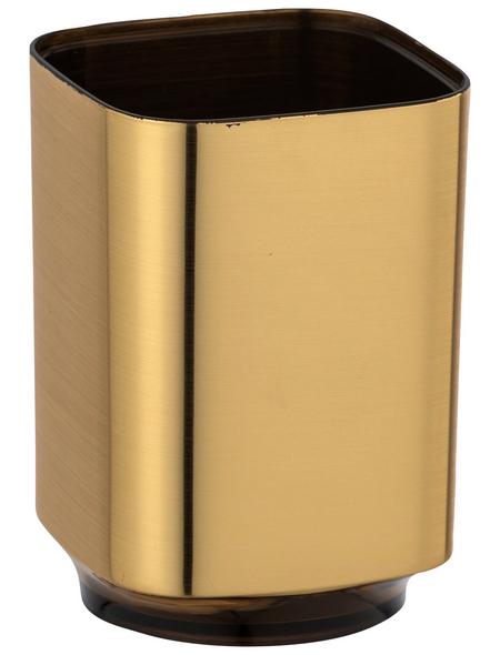 WENKO Zahnputzbecher, Kunststoff, goldfarben, rund