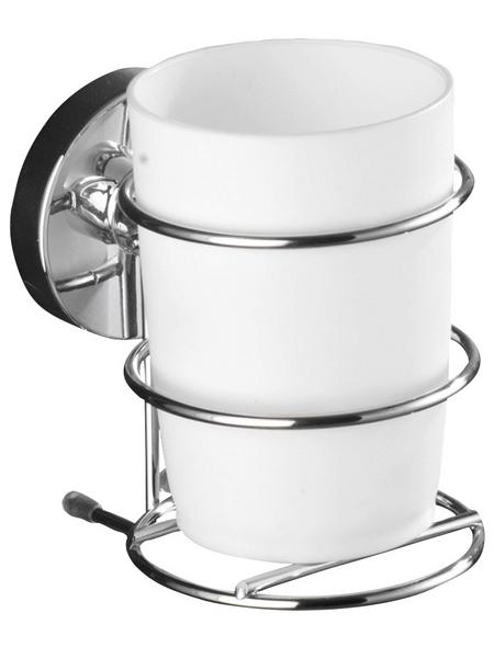 WENKO Zahnputzbecher »Milazzo«, Stahl/Kunststoff, glänzend, weiß/chromfarben, rund