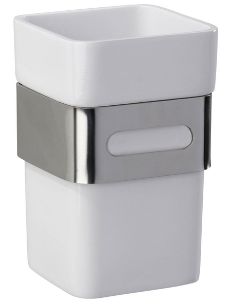 WENKO Zahnputzbecher »Premium Plus«, Edelstahl/Kunststoff, silberfarben