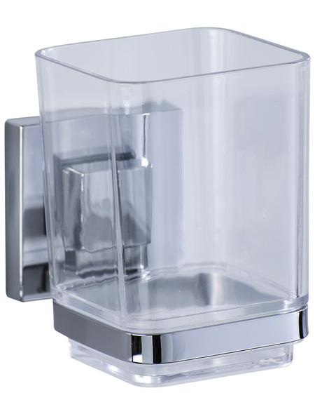 WENKO Zahnputzbecher »Quadro«, Edelstahl/Kunststoff, transparent/chromfarben