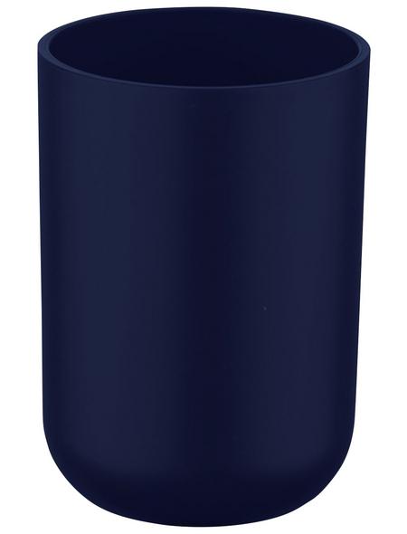 WENKO Zahnputzbecher, Thermoplastischer Kunststoff (TPE), dunkelblau, rund