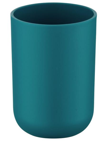 WENKO Zahnputzbecher, Thermoplastischer Kunststoff (TPE), petrolfarben, rund