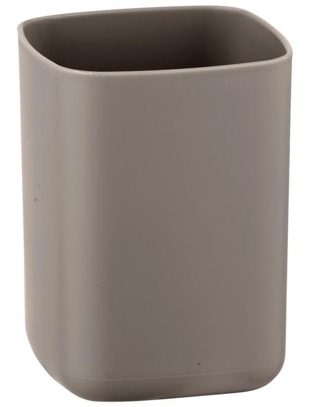 WENKO Zahnputzbecher, Thermoplastischer Kunststoff (TPE), taupe, rund