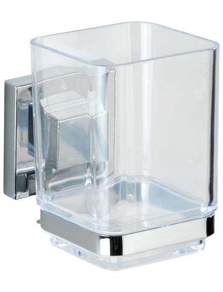 WENKO Zahnputzbecher »Vacuum-loc Quadro«, Edelstahl/Kunststoff, silberfarben/transparent, eckig
