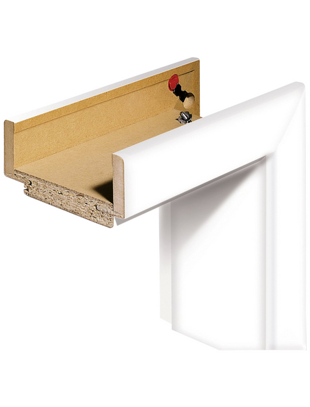 TÜRELEMENTE BORNE Zarge, links, HxB: 198.5x73.5 cm, Wandstärke: 9 cm, weiß, Rundkante