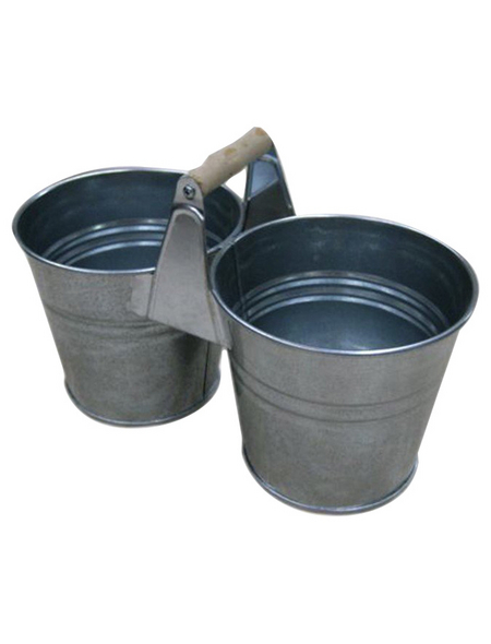 A.H.G. Zwillingstopf, Zink, silber-Metallic, rund