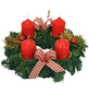 Adventskranz, Edeltanne, Ø: 25 cm, rot dekoriert-Thumbnail