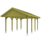 SKANHOLZ Carport, B x T x H: 430 x 600 x 326 cm, grün-Thumbnail