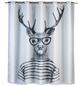 WENKO Duschvorhang »Mr. Deer Flex«, BxH: 180 x 200 cm, Hirsch, weiß/schwarz-Thumbnail
