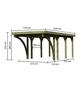 KARIBU Einzelcarport »Classic 2 Variante C inkl. zwei Einfahrtsbögen«, Außenmaß BxT: 273 x 476 cm, natur-Thumbnail