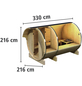 KARIBU Fasssauna »3«, Fichtenholz, beige, 3 Personen, 5,8 m2-Thumbnail
