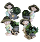 Goldbach Gartenfigur, Stehend mit Pflanze, Keramik, bunt-Thumbnail