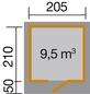 WEKA Gartenhaus, B x T: 249 x 284 cm, Flachdach-Thumbnail