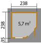 WEKA Gartenhaus »Designhaus 213«, B x T: 278 x 278 cm, Flachdach, inkl. Fußboden-Thumbnail