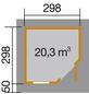 WEKA Gartenhaus »Designhaus 213 Gr.2«, B x T: 338 x 338 cm, Flachdach, inkl. Fußboden-Thumbnail