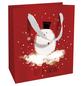 Geschenktasche Bobby Snow, 18x21x8 cm, rot weiss-Thumbnail