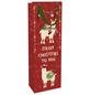 Geschenktasche Flasche X-Mas Lamas, 12x37x8 cm, matt rot-Thumbnail