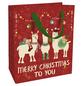 Geschenktasche X-Mas Lamas, 18x21x8 cm, matt rot-Thumbnail