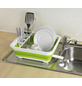 WENKO Geschirrabtropfer faltbar Grün/Weiß Geschirr-Abtropfständer, Abtropfgestell für Geschirr und Besteck-Thumbnail