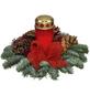 Grabgesteck, rot dekoriert mit Grablicht-Thumbnail