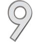 SÜDMETALL Hausnummer, 9, Weiß, Kunststoff   Edelstahl, 11,7 x 17 x 1,8 cm, nachtleuchtend-Thumbnail