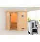 KARIBU Sauna »Baldohn«, BxTxH: 224 x 160 x 160 cm, 3,6 kw, Plug&Play-Saunaofen, ext. Steuerung-Thumbnail