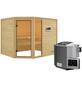 WOODFEELING Sauna »Fjella«, inkl. 4.5 kW Bio-Kombi-Saunaofen mit externer Steuerung für 4 Personen-Thumbnail
