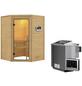 WOODFEELING Sauna »Franka«, inkl. 9 kW Bio-Kombi-Saunaofen mit externer Steuerung für 3 Personen-Thumbnail
