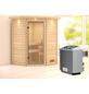 WOODFEELING Sauna »Franka«, inkl. 9 kW Saunaofen mit integrierter Steuerung für 3 Personen-Thumbnail