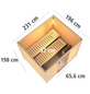 WOODFEELING Sauna »Karla«, BxTxH: 231 x 196 x 196 cm, 9 kw, Bio-Kombi-Saunaofen, ext. Steuerung-Thumbnail