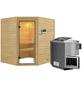 WOODFEELING Sauna »Mia«, inkl. 9 kW Bio-Kombi-Saunaofen mit externer Steuerung für 3 Personen-Thumbnail