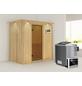 KARIBU Sauna »Pärnu«, inkl. 9 kW Bio-Kombi-Saunaofen mit externer Steuerung für 2 Personen-Thumbnail