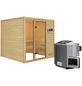 WOODFEELING Sauna »Senja«, inkl. 4.5 kW Bio-Kombi-Saunaofen mit externer Steuerung für 4 Personen-Thumbnail