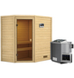 WOODFEELING Sauna »Sunniva«, inkl. 4.5 kW Bio-Kombi-Saunaofen mit externer Steuerung für 4 Personen-Thumbnail